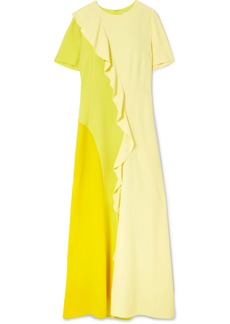 Goen J Color-block ruffled chiffon and crepe de chine maxi dress