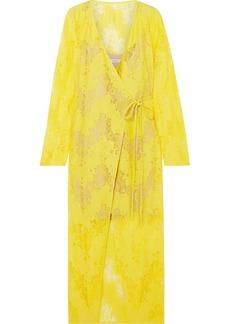 Goen J Lace wrap midi dress