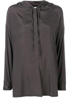 Gold Hawk drawstring long-sleeve blouse