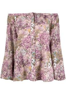 Gold Hawk floral-print silk blouse