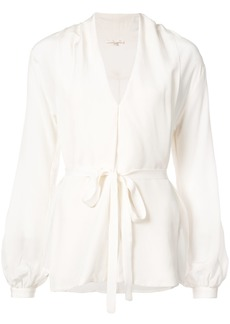 Gold Hawk belted blouse - White