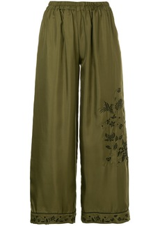 Gold Hawk embroidered cropped trousers - Green