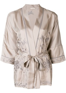 Gold Hawk embroidered kimono blouse - Grey