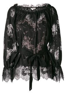 Gold Hawk lace belted blouse - Black
