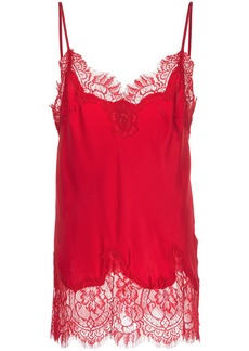Gold Hawk lace insert top - Red