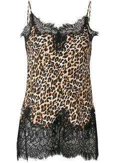 Gold Hawk lace trim leopard print blouse