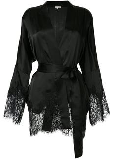 Gold Hawk pyjama-style lace trim jacket - Black