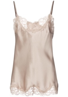 Gold Hawk silk top with lace detail - Nude & Neutrals