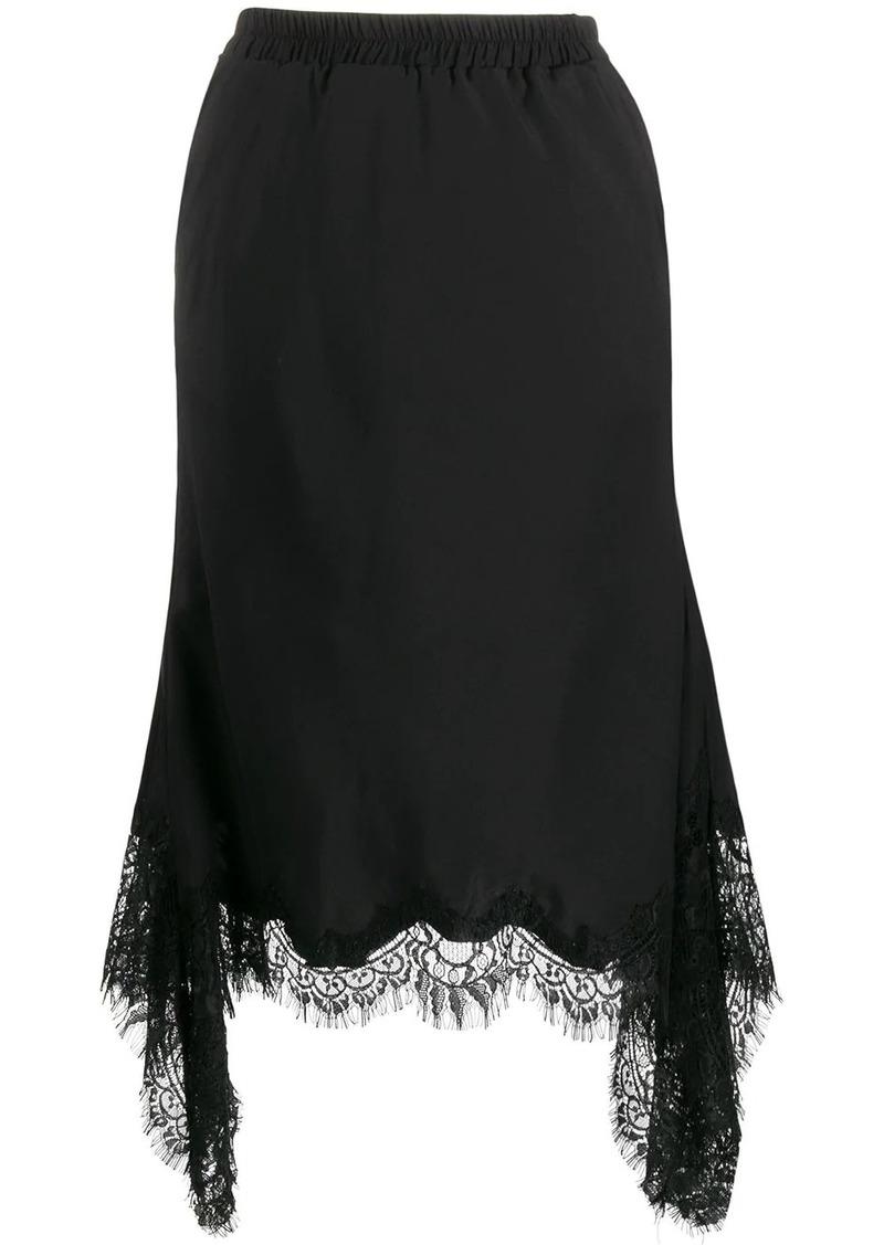 Gold Hawk lace-detail midi skirt