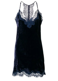 Gold Hawk lace detailed slip dress