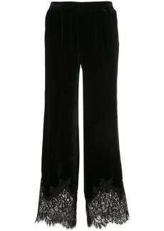 Gold Hawk lace hem velvet trousers