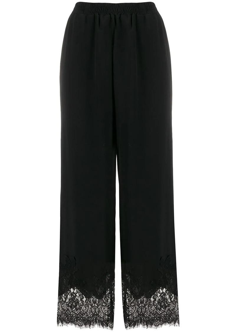 Gold Hawk lace hem wide-leg trousers