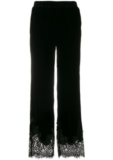 Gold Hawk lace panels track trousers