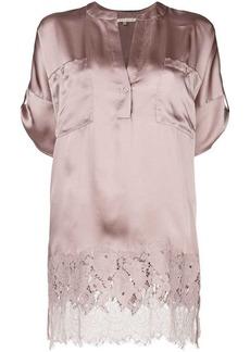 Gold Hawk lace trim blouse