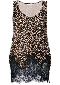Gold Hawk lace trim leopard print velvet top