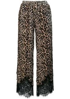 Gold Hawk leopard lace trim trousers