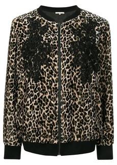 Gold Hawk leopard print bomber jacket