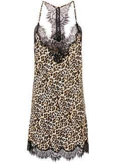 Gold Hawk leopard print slip dress