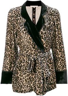 Gold Hawk leopard print velvet blazer