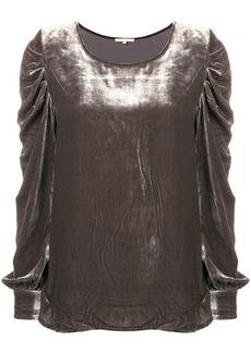Gold Hawk puff sleeve velvet blouse