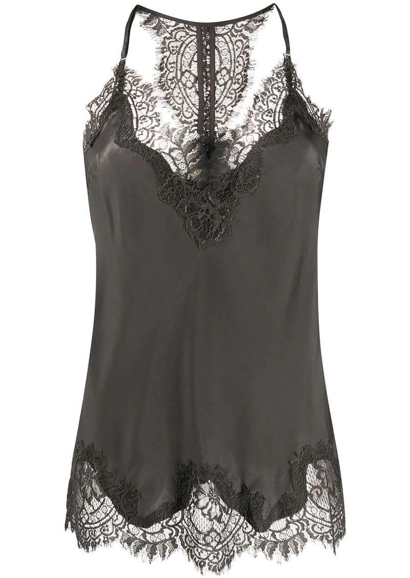 Gold Hawk scalloped lace silk vest