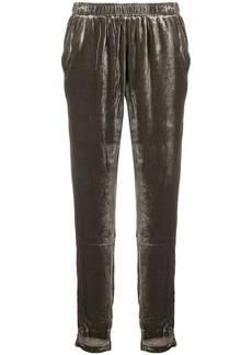 Gold Hawk velvet track trousers