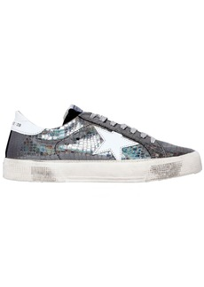 Golden Goose 20mm May Snake Embossed Leather Sneakers