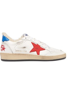 Golden Goose Ball Star Shearling-lined Distressed Leather Sneakers