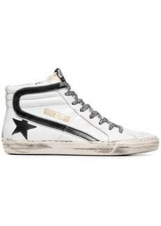 Golden Goose black and white Slide leopard lace leather high-top sneakers