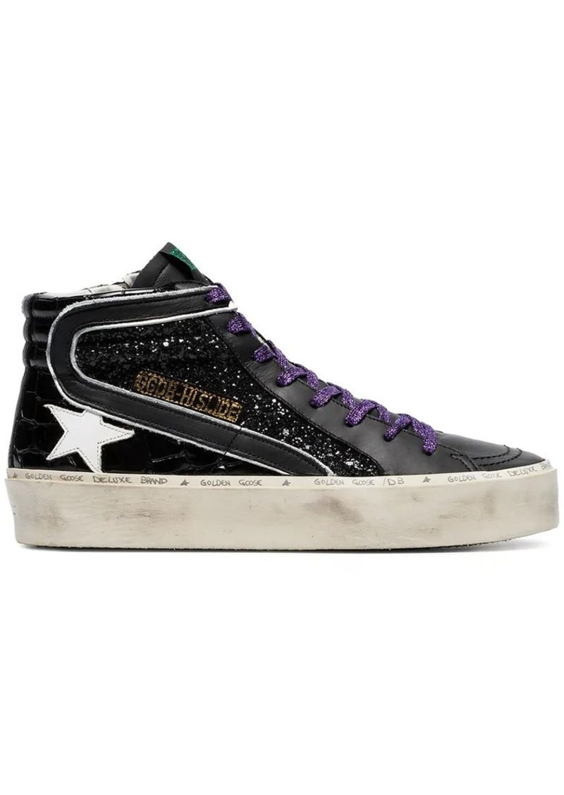 Golden Goose black glitter detail leather hi-top sneakers