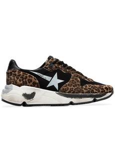 Golden Goose black Running Sole leopard print low-top leather sneakers