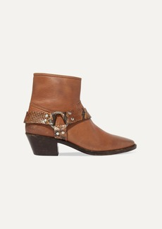 Golden Goose Bretagne Distressed Leather And Snake-effect Ankle Boots