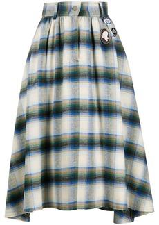 Golden Goose checkered high-waist cotton skirt
