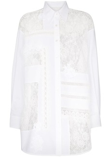 Golden Goose Flora lace-insert oversized cotton shirt
