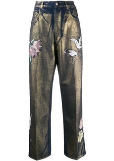 Golden Goose floral-print high-rise straight-leg jeans