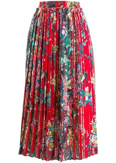 Golden Goose floral print pleated midi skirt