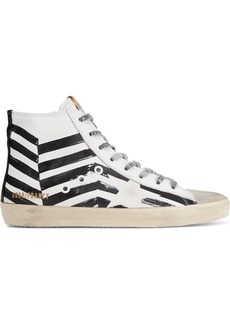 Golden Goose Francy Distressed Printed Leather And Suede High-top Sneakers