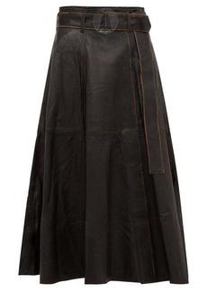 Golden Goose Akemi belted A-line leather midi skirt
