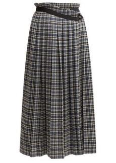 Golden Goose Checked wool-tweed midi skirt