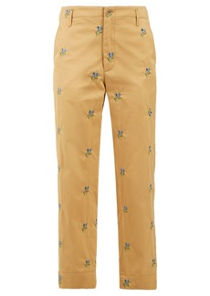 Golden Goose Deluxe Brand Floral-embroidered straight-leg twill trousers