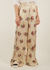 Golden Goose Deluxe Brand Floral-print wide-leg satin trousers
