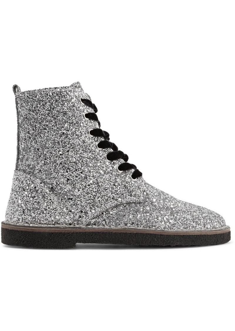 Golden Goose Glittered Leather Ankle Boots
