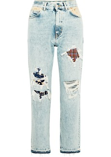 Golden Goose Komo Distressed Patchwork High-rise Straight-leg Jeans