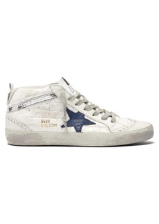 Golden Goose Deluxe Brand Mid-Star croc-embossed leather and suede trainers