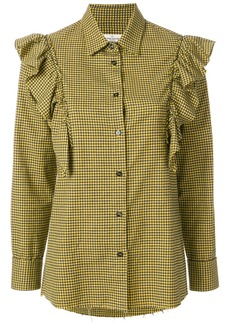 Golden Goose Deluxe Brand mini check frill blouse - Black