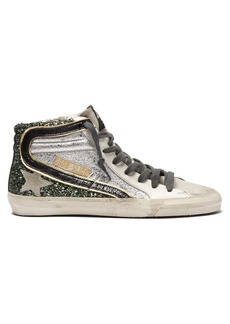 Golden Goose Deluxe Brand Glitter and metallic high-top leather trainers