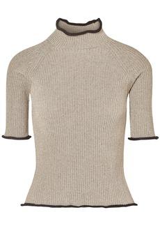 Golden Goose Deluxe Brand Woman Alya Metallic Ribbed-knit Turtleneck Top Gold