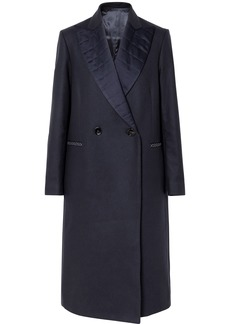 Golden Goose Deluxe Brand Woman Cristal Double-breasted Quilted Satin-trimmed Wool-blend Coat Navy