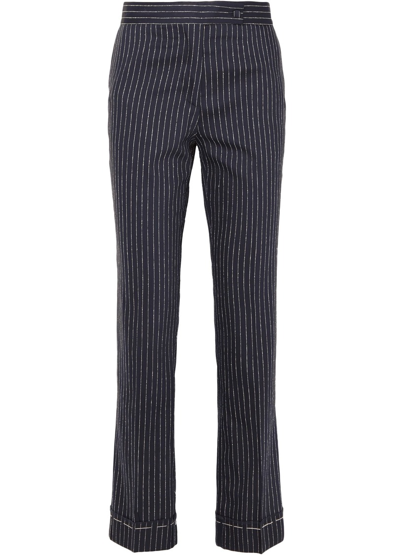 Golden Goose Deluxe Brand Woman Pinstriped Wool And Silk-blend Straight-leg Pants Navy