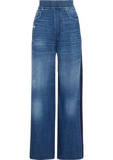Golden Goose Deluxe Brand Woman Sophie Distressed Striped High-rise Wide-leg Jeans Mid Denim